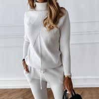 TYHRU Sonbahar Kış kadın Katı Renk Çizgili Balıkçı Yaka Kazak Ve Elastik Pantolon Takım Elbise Örme İki Parçalı Set T200702