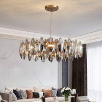 New modern crystal chandelier for living room  home decor lighting fixtures round gold led cristal lamp lustre