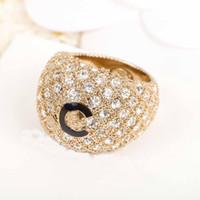 Luxuriöse Qualität Punk-Band Ring mit Worten und funkelnden Diamanten für Frauen Engagement Schmuck Geschenk Freies Verschiffen PS3537