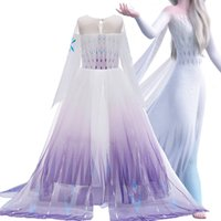 Costume Desempenho Festival Rainha Fantasia Cosplay Anna Elsa Meninas Vestidos de malha Casual Summer Party Congelado Ice Princess Vestido de neve