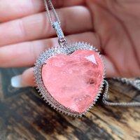32 * 32mm cuore rosa tormalina in cristallo creato collana pendente della pietra preziosa moissanite per le donne regalo di anniversario dei gioielli