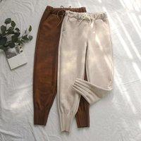 Kadın Süet Pantolon Sonbahar Kış Elastik Yüksek Bel Harem Pantolon Gündelik Artı boyutu Kaşmir Kadınlar Havuç Pantolon 201012 Cepler