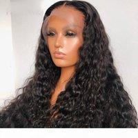 Gevşek Curl 250 Yoğunluk 13x6 Dantel Ön İnsan Saç Peruk 360 Dantel Frontal Peruk Brezilyalı Remy Saç Su Dalgası 30 Inç Tam