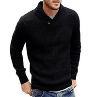 Men Sweater Solid Color Pullover Sweater Soft Warm Knitted T...