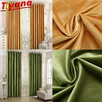 Thickened Yellow Green Velvet Curtains for Living Room Moder...