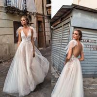 섹시한 베르타 2020 비치 웨딩 드레스 등이없는 깊은 V 넥 웨딩 드레스 레이스 Appliqued 주문 제작 A 라인 약혼 드레스 로브 드 Mariee