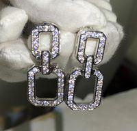 Designer Glänzende Lange Ohrringe Geometrisches Rechteck Einfache Ohrringe mit CZ-Diamant-Stein für Frauen Schmuck