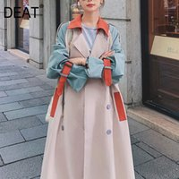 [DEAT] Women' s Coat Lapel Collar Hit Color Tassel Belt ...