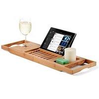 Bambus Badewanne Tablett Handgefertigte Badewanne Badezimmerregale Caddy Bath Caddy Rack Badezimmer Lagerständer Faltbar