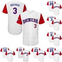 2017 Dominican Republic World Baseball 클래식 WBC Jersey 3 Manny Machado 6 Starling Marte 19 Jose Bautista 22 Robinson Cano 23 Nelson Cruz