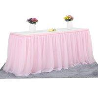 Tule Toalha de Tola para festa de aniversário Jantar de casamento Talheres Decoração 3 Tiers Table Skirt Home Têxtil 201120