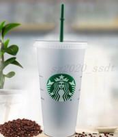 Starbucks 24oz / 710ml Tumbler en plastique Réutilisable Clear Clear Boûter Coupe de la coupe Couvercle Couvercle Tasse de paille Bardian 500pcs Livraison gratuite