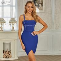 Adyce 2020 Neue Sommer Frauen Blau Slash Hals Mini Bandage Kleid Sexy Spaghetti Strap Perlenclub Celebrity Runway Party Kleider Y1224