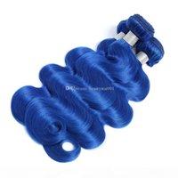 순수한 컬러 블루 레드 핑크 퍼플 레드 브라질 바디 웨이브 스트레이트 헤어 3 번들 4 * 4 레이스 폐쇄 100 % 레미 인간의 머리카락 확장