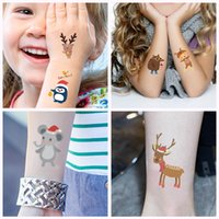 Frohe Weihnachten Tatto Aufkleber Temporary Body Art Tattoo für Mädchen-Jungen Cute Snowflake Elk Gesicht Hals Arm Makeup Entwurf Gefälschte Mode-Aufkleber New
