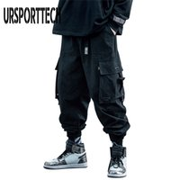 UrsportTech Noir Cargo Hommes Hip Hop Automne Harem Pant Streetwear Harajuku Jogger Jogger Pantalon Pantalon Coton Pantalon Mâle 201222
