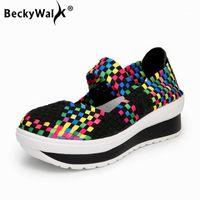 Beckywalk Handgemachte gewebtes Frauen Sandalen Plattform Sommerschuhe Frau Keil Lässige Wanderschuhe für Damen Zapatos Mujer WSH29181