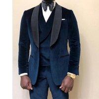 Erkekler Takım Elbise Blazers Lacivert Velvet Casual Erkekler Balo 3 Parça Düğün Damat Smokin Afrika Adam Moda Giysileri Seti Ceket Yelek Tava ile