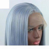 Ombre bleu clair mélange gris long main droite égoïste snimétique dentelle de dentelle avant perruque sans glâches résistant à la chaleur cheveux pour femmes blanches femmes perruques