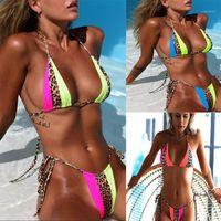 Women's Swimwear 2021 Verão Top Sexy Thong Leopardo Bandage Bikini Mulheres Two-Peça Separa Plavky Multi Print1