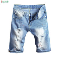 Men's Shorts Jaycosin Summer Beach Casual Denim Fashion Solid Hole Pants Light Blue Pantalones De Moda Para Hombre