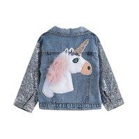 Unicornio Jean Chaqueta para niñas Ropa para niños Baby Girls Ropa Outerwear Outerweet Jean Chaquetas Abrigos para niñas para niños 201208