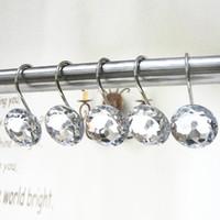 12pcs / pack Roller Ball cortina de chuveiro Anéis Ganchos resistentes à ferrugem Acessórios Cortina polido cetim níquel Ferro Hooks