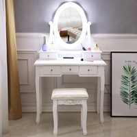 FCH With Light Bulb Single Mirror 5 Drawer Dressing Table Wh...