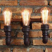 Steam Punk Loft Industriel 2/3 lumières Tuyau d'eau rouille Tuyau rétro Lampe murale LED E27 / E26 Éclairage SCONCE pour salon à la maison Salle de bain