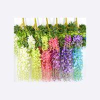 7 couleurs élégantes fleur de soie artificielle Wisteria fleur de vigne en rotin pour la décoration de mariage de jardin à domicile 75cm et 110cm disponible 99 N2