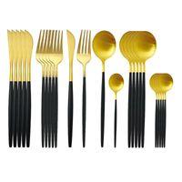 24 قطع الأسود الذهب ماتي المائدة أدوات المائدة مجموعة المقاوم للصدأ أدوات المائدة مجموعة سكين المنزل شوكة ملعقة أطباق غسالة أطباق آمنة