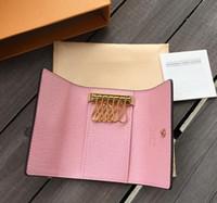 المرأة ذات جودة عالية جديد رجل كلاسيكي 6 رئيسيا غطاء حامل المفاتيح الرجال محافظ مفتاح مع مفتاح box.dust بطاقة حقيبة حلقة 7 ألوان
