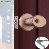 Raykube Biometric Fingerprint Bloqueio de Bloqueio de Bloqueio Inteligente Deadbolt Deadbolt Lock Home Office Door Keyed Lock Liga de Zinco R-S178 Y200407
