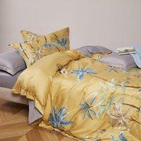 Botanique housse de couette feuilles d'arbre Oiseaux imprimés Literie doux drap de lit 100% coton respirant la pleine taille Reine 4Pcs