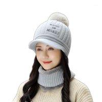 قبعة / جمجمة قبعات bingyuanhaoxuan إمرأة الشتاء قبعة قبعة وشاح مجموعة الدافئة الصوف اصطف حك earflap التزلج مع pompom1