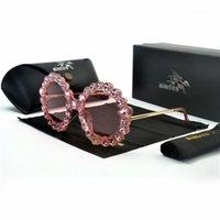 선글라스 디자인 핸드 메이드 라인 석 다이아몬드 패션 안경 여성 꽃 진주 라운드 빈티지 해변 파티 FML1