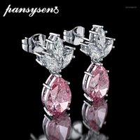 استرخى الثريا pansysen 2021 100٪ 925 الاسترليني فضة مجوهرات إسقاط أقراط للنساء الفاخرة الطبيعية الأحجار الكريمة الزفاف الاشتباك earrin