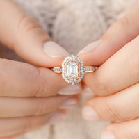 Quente Banhado Rosa Gold Zircon Quadrado Diamante Princesa Anel Melhor Noivado Feminino Jóias Presente