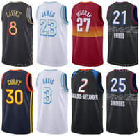 Basketbol Jersey City Ben Simmons Stephen Körili Davis Joel Embiid Lebron Jamal James Murray Zach Lavine Shai Gilgeous-Alexander