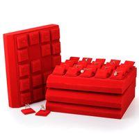 Placa de exhibición de joyería de alta gama Terciopelo rojo Movable Placa Pendientes Pendientes Pendientes Collar Bandeja Pantalla Magnet Joyería Pantalla Props