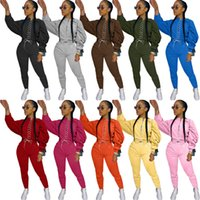 femmes de deux combinaisons de jogging pièce à manches longues tenues pantalon chemise sweat à capuche 2 pièce ensemble collants chemise mince pantalon pull-over costume sport