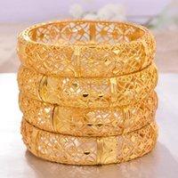 ANNAYOYO 4Pcs / lot 24K äthiopischen Goldarmband für Frauen Hochzeit Braut Armbänder Gold Farbe Schmuck Middle East African Bride Geschenke