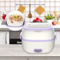 Mini fogão de arroz térmico aquecedor elétrico lancheira 2 camadas portátil steamer cozinhar recipiente refeição refeição aquecedor