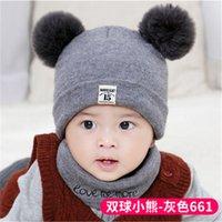 Bebê de inverno de malha chapéus de natal quente tampões cachecol de malha conjunto de tricô crochet chapéu para criança inverno quente knit chapéus Accessorie 68 G2