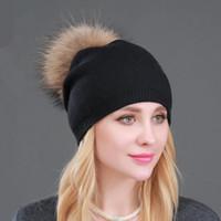Le donne di alta qualità a doppio strato di lana cappelli lavorati a maglia con grande pelliccia reale Pompoms caldo Slouchy beanies cappello signore Moda Skullies