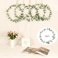 Flores decorativas grinaldas coroa porta deocr 30cm simular folhas de eucalipto com anel de ferro pingente de suspensão para decoração de festa de casamento1