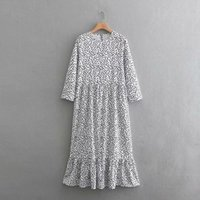 Women Fashion O Neck Three Quarter Sleeve Dots Printing Casual Long Dress Female Hem Ruffles Vestidos Chic Dresses 201022