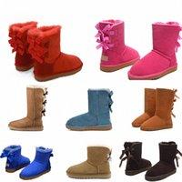 2021 Moda Avustralya Wgg Kadınlar Platformu Tasarımcı Bayan Motorccle Boot Kızlar Lady Bailey Yay Kış Kürk Kar Yarım Diz Kısa Çizmeler 3 L39G #