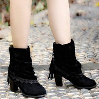 Autumn Winter Women Shoes High Heels Lace Up Ankle Boots Flo...