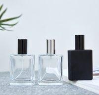 2021 Neue 50ml High-End-tragbare transparente Glasparfümflasche mit schwarzen Kappen, leeren Flaschensprühflasche